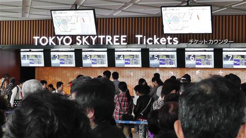 Tokyo Skytree Oshiage Waiting Line 6 Stock Video Footage