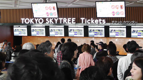 Tokyo Skytree Oshiage Waiting Line 6 Stock Video Footage