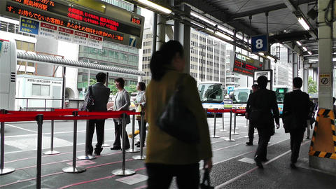 Tokyo Station Japan 2 bus stop Stock Video Footage