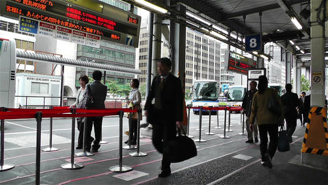 Tokyo Station Japan 2 bus stop Footage