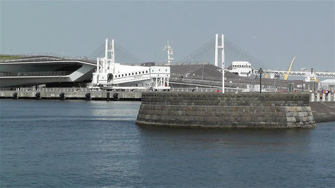 View to Osanbashi Pier Yokohama Japan 2 Stock Video Footage