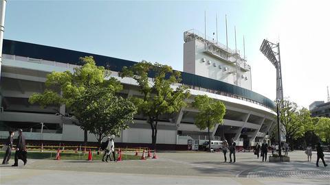 Yokohama Baseball Stadium Japan 2 pan Stock Video Footage