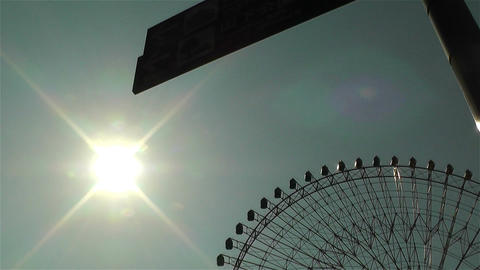 Yokohama Cosmoworld Ferry Wheel Japan Lowangle stock footage