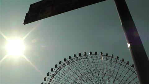 Yokohama Cosmoworld Ferry Wheel Japan lowangle Stock Video Footage