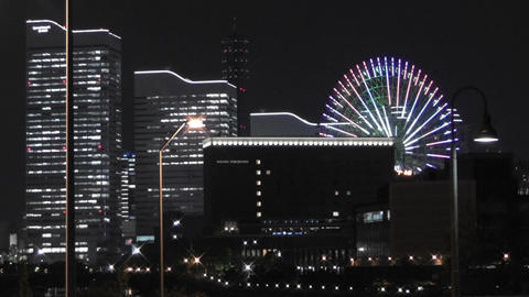 Yokohama Japan at Night 4 Stock Video Footage