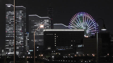 Yokohama Japan at Night 4 Footage