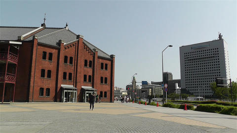 Yokohama Red Brick Warehouse Japan 1 stock footage