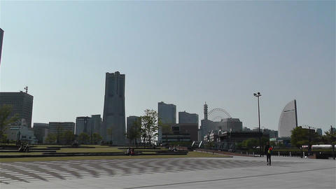 Yokohama Seaside Japan 5 pan Stock Video Footage
