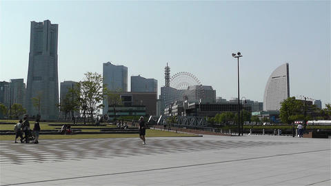Yokohama view to Minatomirai Building and Cosmoworld Wheel Japan Footage