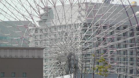 Zoom Out Yokohama Cosmoworld Ferry Wheel Japan Stock Video Footage