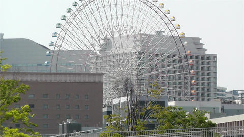 Zoom Out Yokohama Cosmoworld Ferry Wheel Japan Stock Video Footage