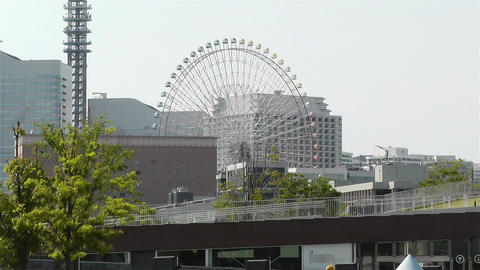 Zoom Out Yokohama Cosmoworld Ferry Wheel Japan Footage