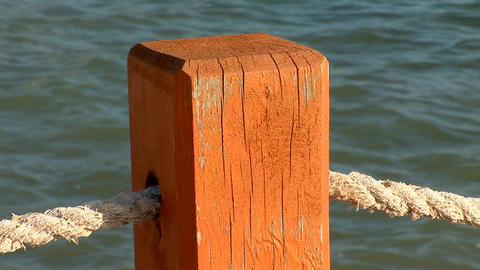 rope fence near the water Footage