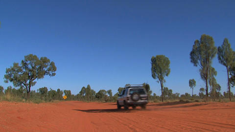 four wheel drive at dirt road Stock Video Footage