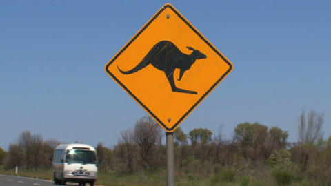 Tourism bus passing by Kangaroo sign Stock Video Footage