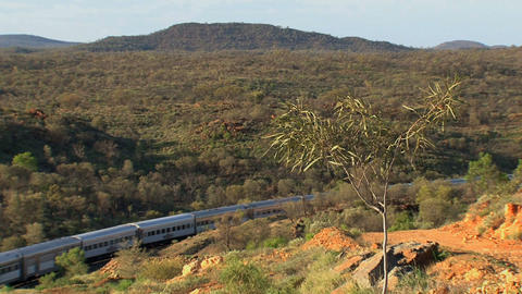 Train in the outback leaving Alice Springs Stock Video Footage