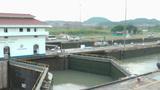 PANAMA CITY, PANAMA - MAY 5: Big ship enters in Panama Canal Miraflores Locks on May 5, 2013 in Pana Footage