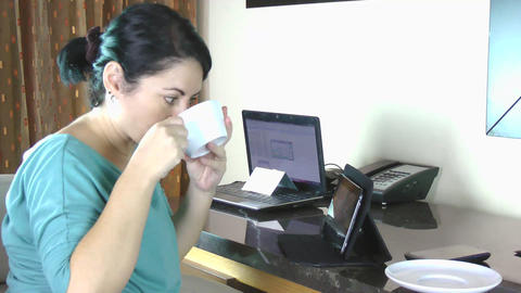 businesswoman in the office taking coffee Stock Video Footage