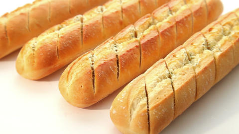 Garlic baguette - dolly shot Stock Video Footage