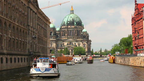 Berlin Cathedral, Berliner Dom, Spree river, Germany Stock Video Footage