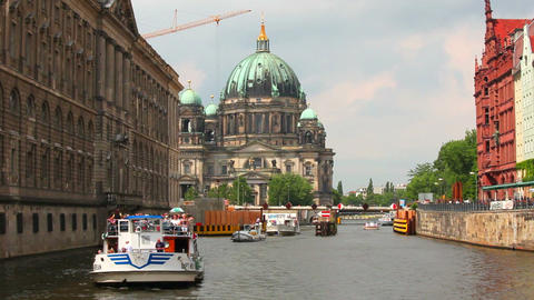 Berlin Cathedral, Berliner Dom, Spree river, Germany Footage