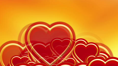 Flying red love hearts background, wedding background... Stock Video Footage