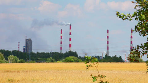 Factory Chimney And Nature, Heavy Industrial stock footage