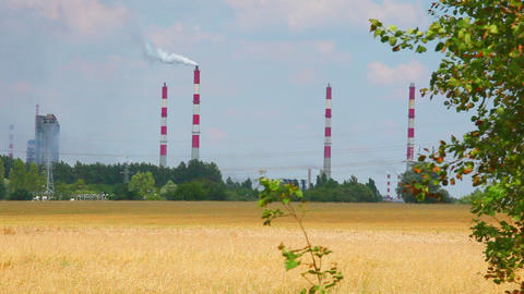 Factory chimney and nature, chemical industry Footage