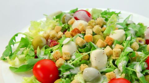 Vegetables salad with mozarella cheese Stock Video Footage