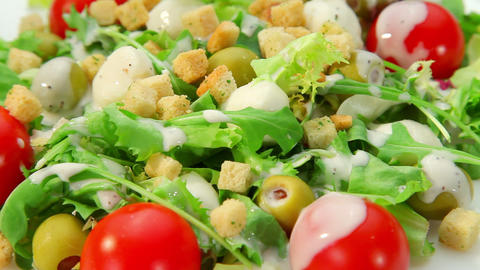 Salad with mozarella cheese - vegetables salad with... Stock Video Footage
