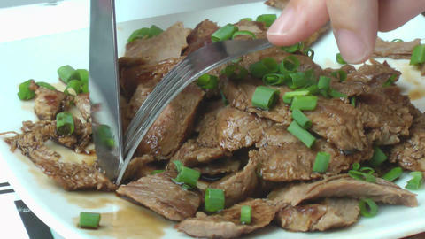 Delicious seared succulent slices of grilled steak served... Stock Video Footage