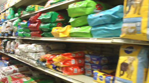 shopping cart moving through store Stock Video Footage