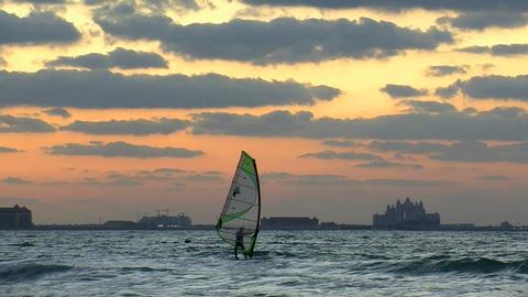Surfer sunset Stock Video Footage