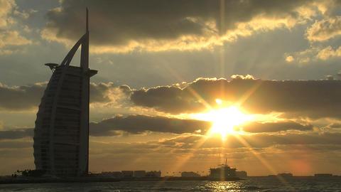 Burj al Arab hotel sunset time lapse Stock Video Footage