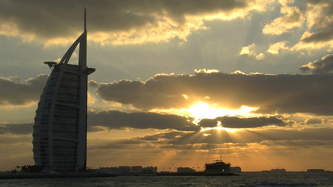 Burj al Arab hotel sunset time lapse Footage