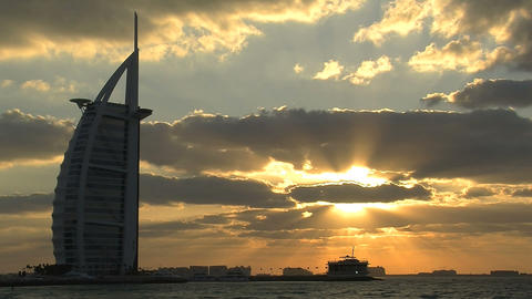 Burj al Arab hotel sunset time lapse Stock Video Footage