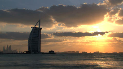 Burj Al Arab Hotel Sunset stock footage