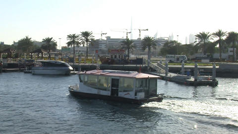 Modern Ferry in harbor Dubai Stock Video Footage