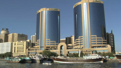 Skyscrapers in Dubai harbor Stock Video Footage