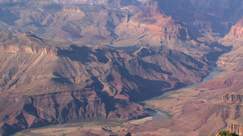Zoom out fro a river in the Grand Canyon Stock Video Footage