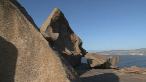 pan from the Remarkable Rocks at the bay Stock Video Footage