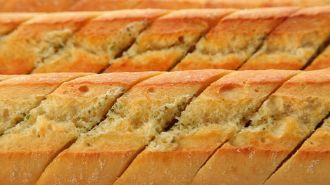 Fresh Baked Garlic Bread stock footage