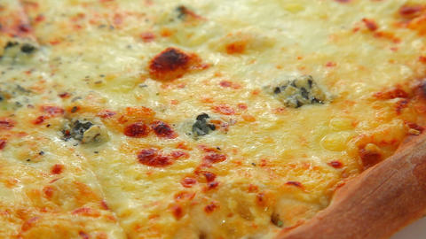 Four cheese pizza Stock Video Footage