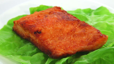 Salmon fried Stock Video Footage