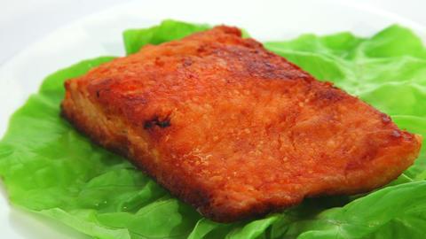 Salmon fried Stock Video Footage