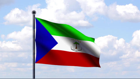 Animated Flag Of Equatorial Guinea / Äquatorialgu stock footage