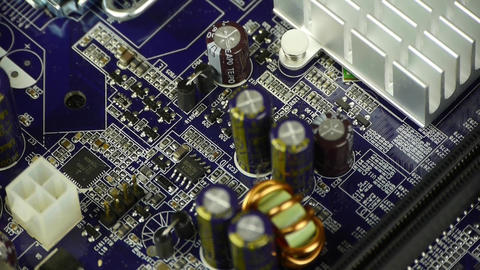 computer motherboard,electronic circuit assembly rotating Stock Video Footage
