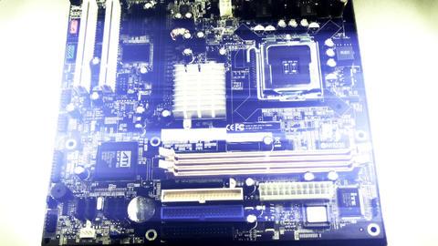 computer main board,electronic circuit & tech blue... Stock Video Footage