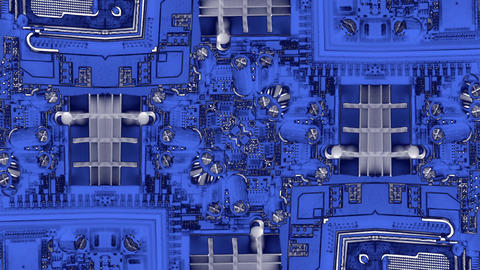 virtual tech blue computer circuit background Stock Video Footage