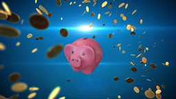 Coins rotating around pink piggy bank Stock Video Footage